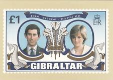 (07236) Gibraltar Postcard Princess Diana Royal Wedding 1981