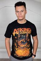 Official Asking Alexandria Metal Hands Unisex T-Shirt Script Skull Gargoyle Rock