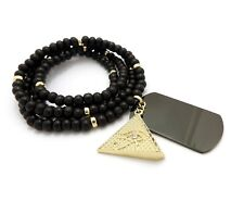 """Hip Hop Iced Egyptian Pyramid & Dog Tag Pendant w/ 6mm 30"""" Wooden Bead Necklace"""