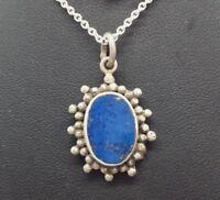 "Fine Oval Blue Lapis Gem Pendant Sterling Silver 925 Necklace 6g 20"" M9582"