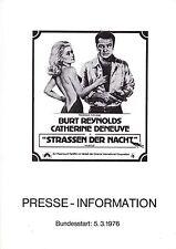 Routes de la nuit DISCO-Swing presseheft Press Book Burt Reynolds, Catherine Deneuve