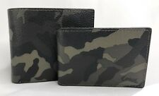 Coach Men's Green Camo Print Wallet 3-IN-1 Wallet