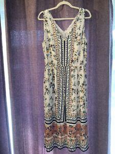 Lucky Brand Dress Size L Sleeveless V Neck White Floral