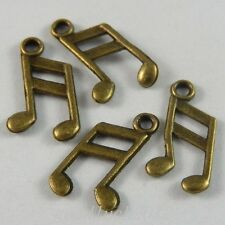 50341 Antique Bronze Alloy Music Note Shape Pendants Charms Crafts Findings 98x