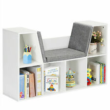 6 Cubby Kid Storage Cabinet Bookcase Multi-Purpose Shelf Cushioned Reading Nook