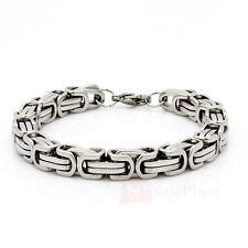 "Mens 8.5"" Stainless Steel Silver Box Byzantine Chain Link Bracelet"