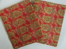 """Vintage Pottery Barn Pair Shams Holiday Red Botanical Linen & Cotton 27 x 21"""""""