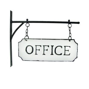 Rustic White Enamel Dual Hanging Office Flange Sign Vintage Embossed Wall Decor