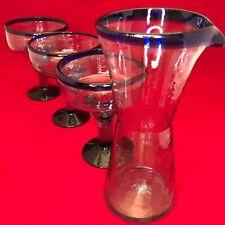 Amici Glassware Cobalt Blue Margarita Set Decanter & 3 Goblets Glasses Mexico
