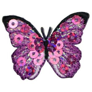 """Fuchsia Butterfly Applique Patch - Pink Sequin 1.5"""" (Iron on)"""