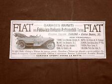 Pubblicità del 1910 FIAT Garages riuniti, Torino, Corso Dante n. 35
