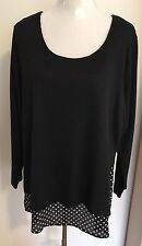 Plus Size 20 Black And White 3/4 Sleeve Comfy Tunic With Polka Dot Hem