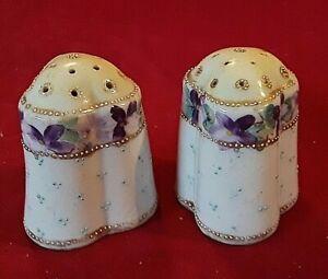 Violet Salt & Pepper Shaker Set PURPLE FLOWERS Antique Porcelain GOLD Vintage