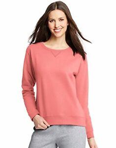 Hanes Women's V-Notch Pullover Fleece Sweatshirt O4633 Charisma Coral