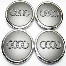 For Audi Emblem Wheel Center Cap Car Logo Auto Badge Rim Gray Hubcaps 4pcs 68mm