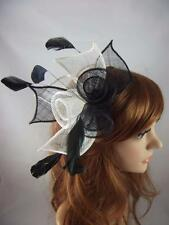 Black & White Rose Comb Fascinator with Feathers - Occasion Wedding Races