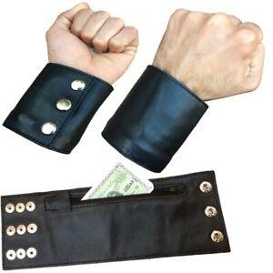 Leather Wrist Wallet With Zip Pocket For Keys or Money Cards Genuine Leather