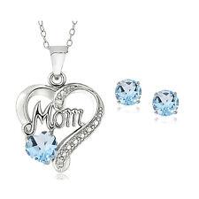 925 Silver Blue Topaz & Diamond Accent MOM Heart Necklace & Earrings Set