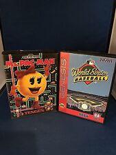Sega Genesis Ms.Pac-Man,World Series Baseball.Cleaned And Tested,2 Game Lot,#6