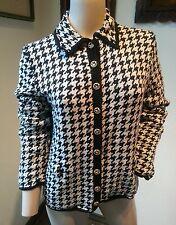 Vtg St. John Knits for Lillie Rubin Houndstooth Santana Cardigan Sweater Jacket