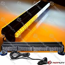 25 inch 144W LED White Amber Light Magnet Warn Strobe Flashing Bar Hazard Roof