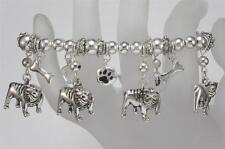 Bulldog Silver Tone Stretch Bracelet