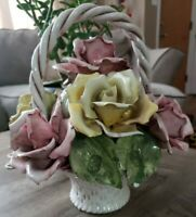 Capodimonte Table Flower Floral Basket Centerpiece Crown N Italy Vintage Large