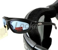 Curv-Z foam insulated motorcycle skydive glasses Black Frame Blue Lens 02-03