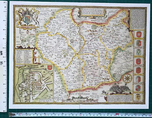 """Old Antique Tudor map Leicestershire England: John Speed 1600's 15"""" x 11 Reprint"""