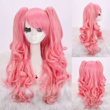 Lolita Kawaii Pink Long Wave Curly Cosplay Anime Wigs Artificial hair+Wig Cup