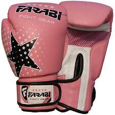 Kids Boxing Gloves MMA Muay Thai Junior Punch Bag Mitts Pink 6oz by Farabi