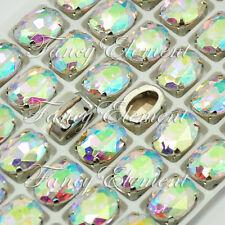 24pcs Glass Oval 4128 Clear AB 10x14mm Crystal Sew On Rhinestone Foiled