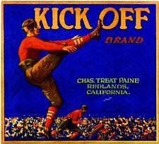 Redlands Kick Off Football Orange Citrus Fruit Crate Label Art Print