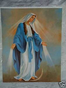 """Catholic Print Picture Mary Our Lady Grace 11x14"""" ready to be framed"""