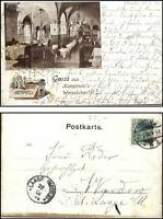 1902 Gruss aus BERLIN Litho-AK Kempinski Weinstuben Henkel Flaschen n/ Laage gel
