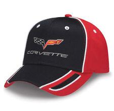C6 Corvette Cap, Black Pique Mesh w/Red Twill Sides & Back, w/C6 Corvette Emblem