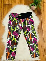 Fabletics PowerHold Capri Crop Leggings Womens XL Black Pink green Cropped