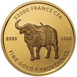 Tschad 50.000 Francs 2020 - Mandala Büffel - Premium-Anlagemünze - 1 Oz Gold ST