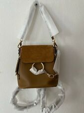 NWT Chloe Small Faye Leather Backpack/Shoulder Bag,$1850, Coconut Brown
