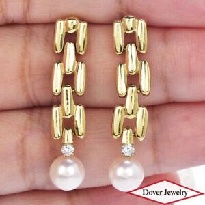 Estate Diamond Pearl 14K Gold Elegant Dangle Drop Earrings 5.3 Grams NR