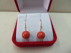 14k Solid Yellow Gold French Wire Earrings With Natural Coral Beads