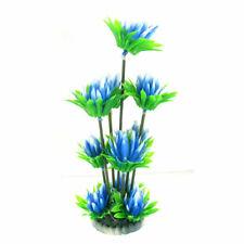 """Blue Green Aquarium Tank Plastic Mum Flower Underwater Plant Ornament 9 4/5"""""""