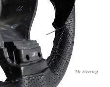 Para Opel Vectra C 02-08 De Cuero Perforado volante cubierta Gris Stitch