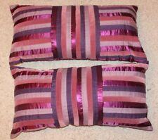 2no. Next Velvet Stripe Plum Cushions