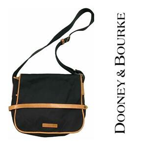 Vintage Dooney & Bourke Cabriolet Crossbody Canvas Messenger Bag Flap Black Brwn