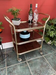 Vintage Retro 3 Tier Wood Effect Cocktail Drinks Serving Trolley Removable Tray