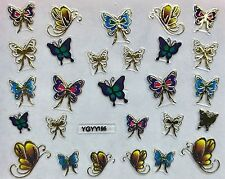 Nail Art 3D Decal Stickers Butterflies Golden Purple Green Pink YGYY195