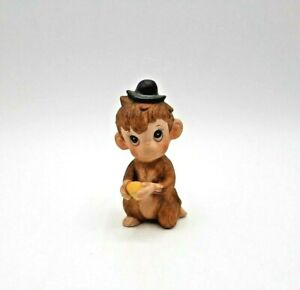 Vintage Bisque Porcelain Anthropomorphic Monkey with Hat Figurine