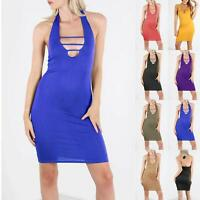 Ladies Womens Sleeveless Solid Tie Back Halter Back Pencil Mini Bodycon Dress