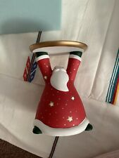 Partylite Holiday Cheer Pillar Candle Holder P9631 Santa Christmas Collectible